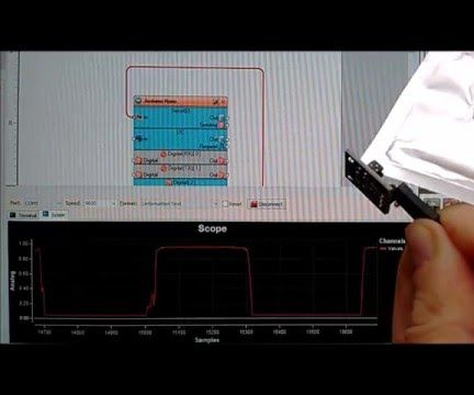 Arduino Nano: Connecting Photo Interrupter (Slotted Optocoupler) With Visuino