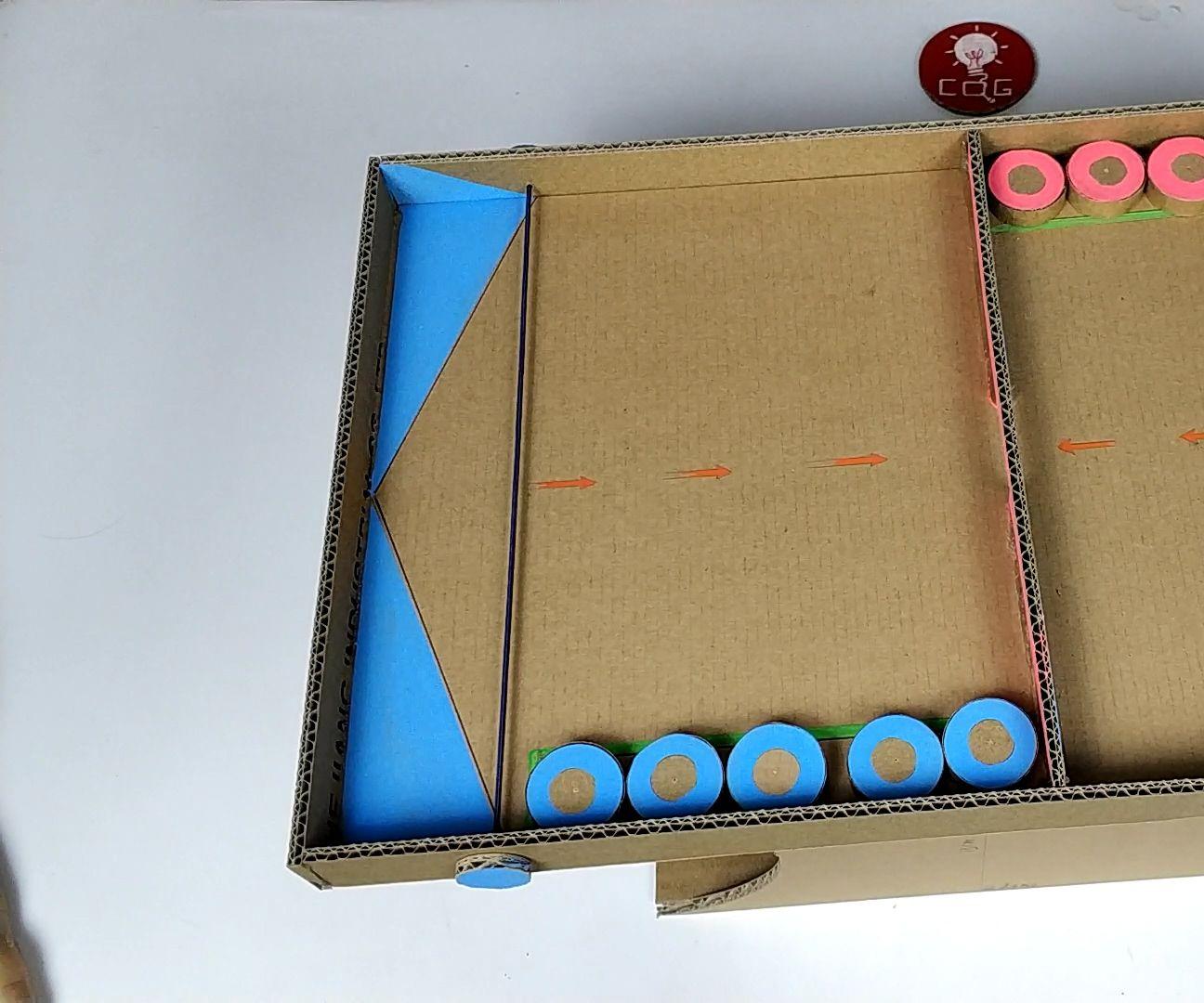 Making Two People Shuffleboard Tabletop Toys in Household Cardboard