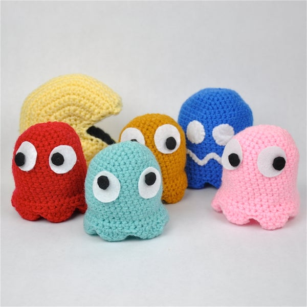 Crochet Pac-Man and Ghosts