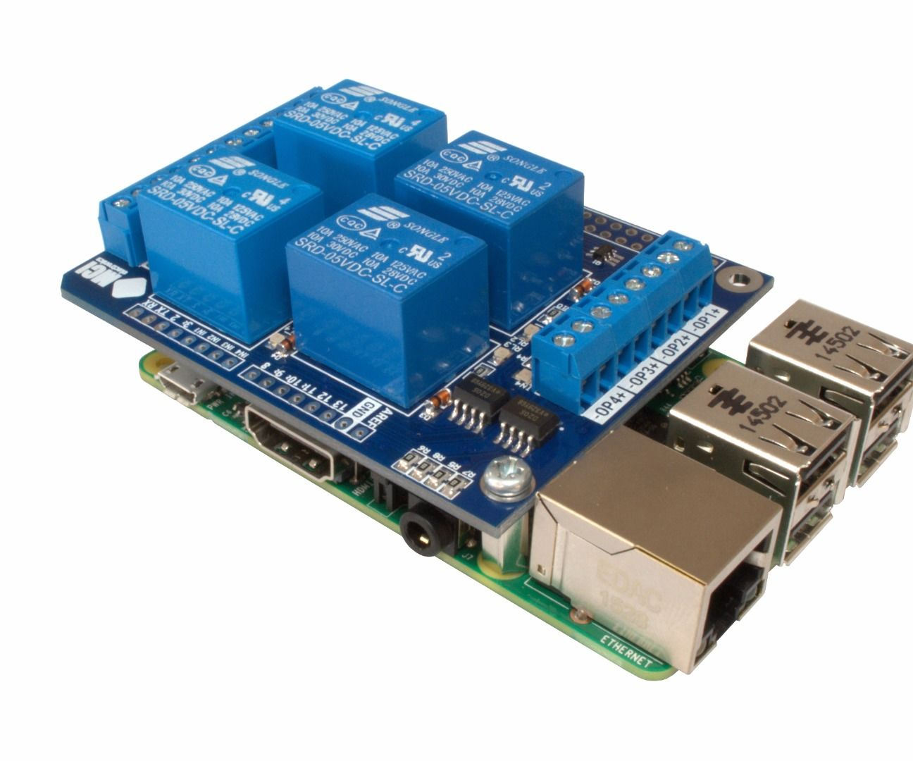 4-Relay Shield + Raspberry Pi B+ (V2 B)