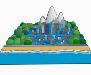 City Planning With Mountains, City and Beach