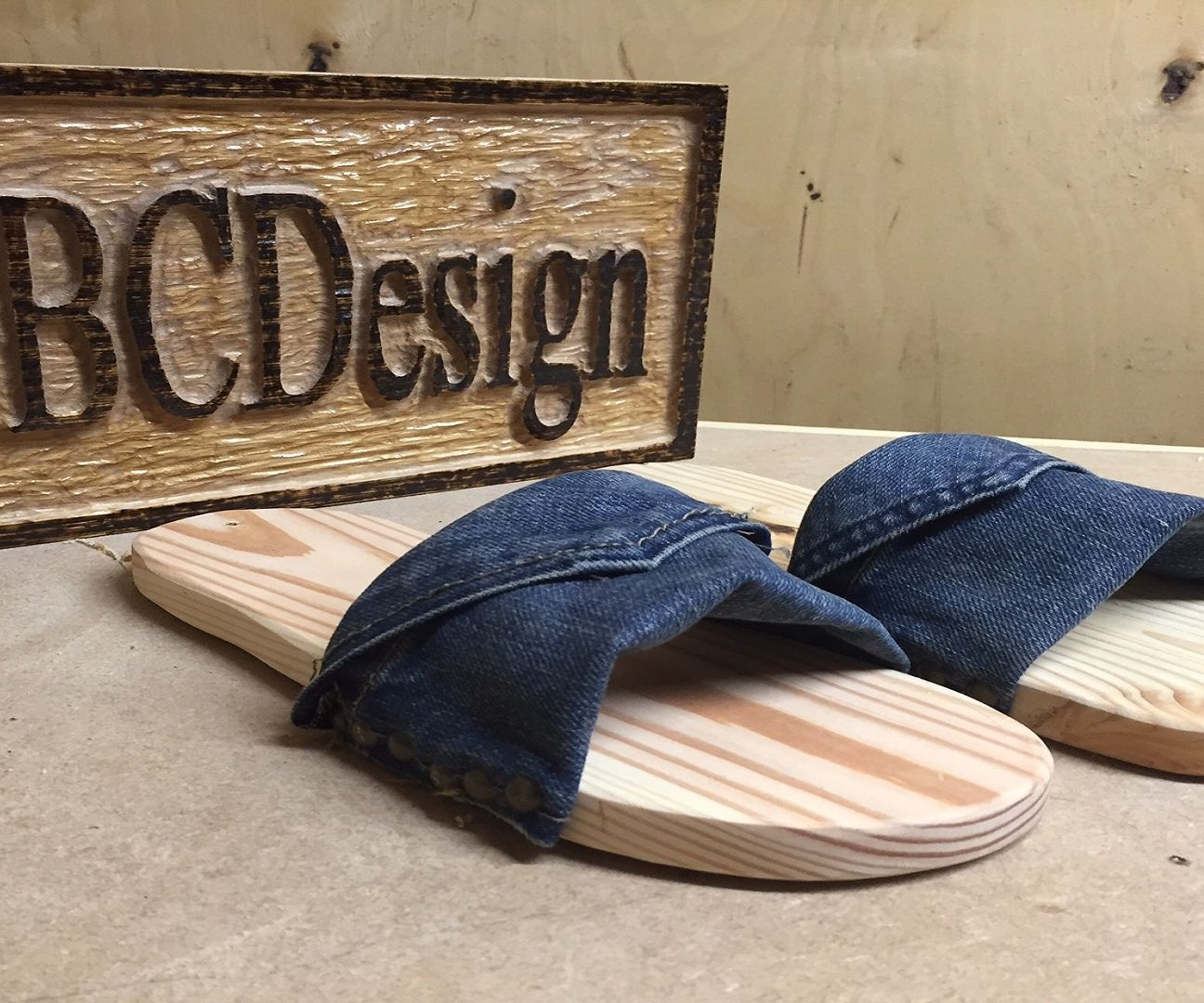 Pallet Wood & Denim Footwear