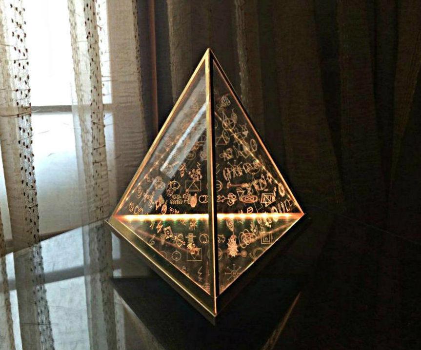"""Floating"" Pyramid Lamp With 108 Spiritual Symbols"
