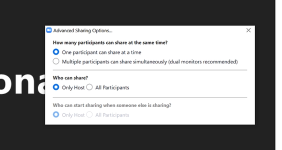 Enable Screen Sharing to Host Only