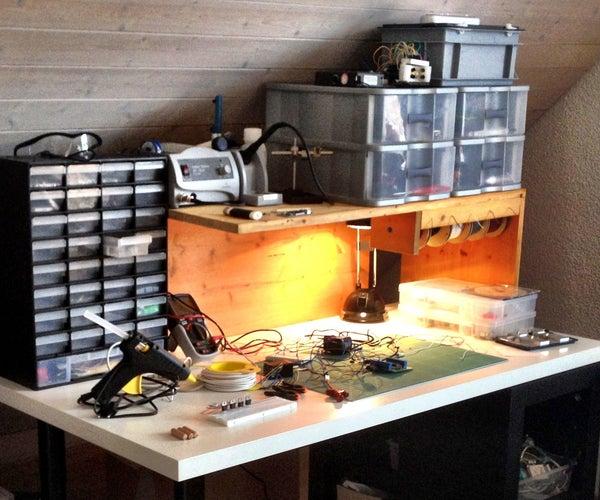 Easy Work Bench Organizer With Wire Dispenser