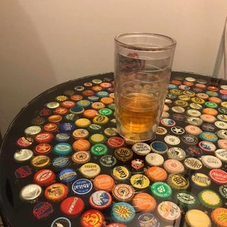 Bottle Cap Table With Poured Resin Surface