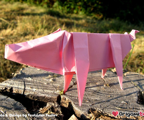Easy Printing Paper Origami Pig