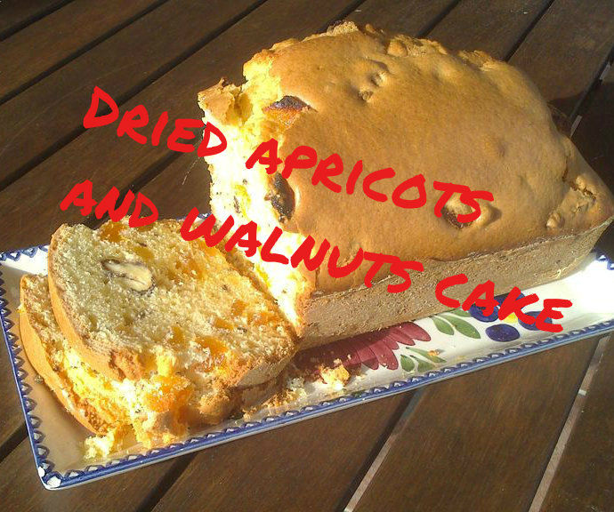 Walnuts and dried apricots cake