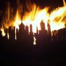 Oil drum garden fire pit with a skyline..!!