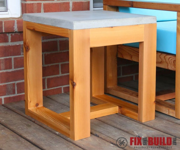 Outdoor Side Table From Two 2x4s and a Bag of Concrete