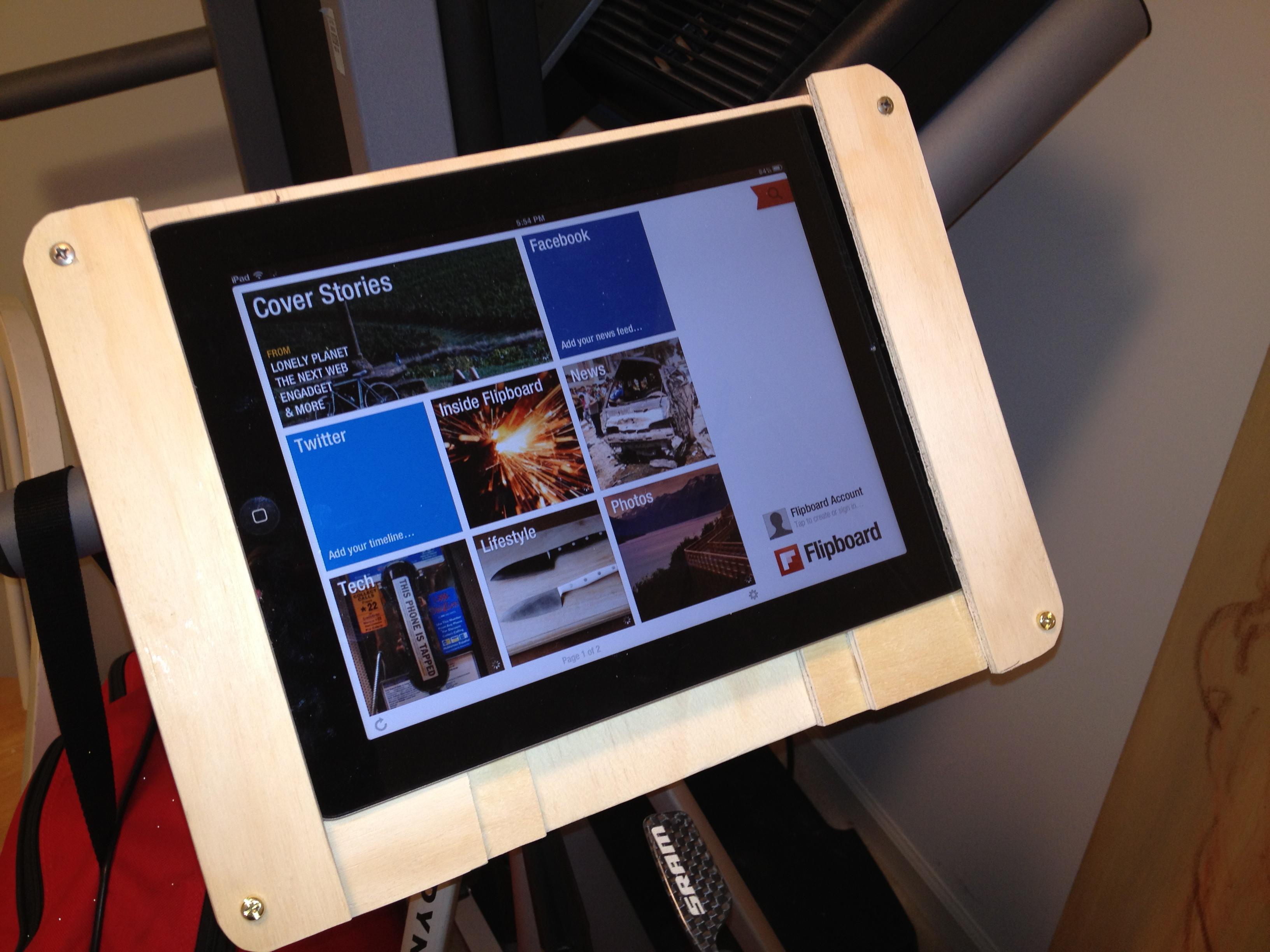 Wooden iPad tripod mount