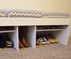Broken Bed -> Entryway Bench W/ Shoe Storage