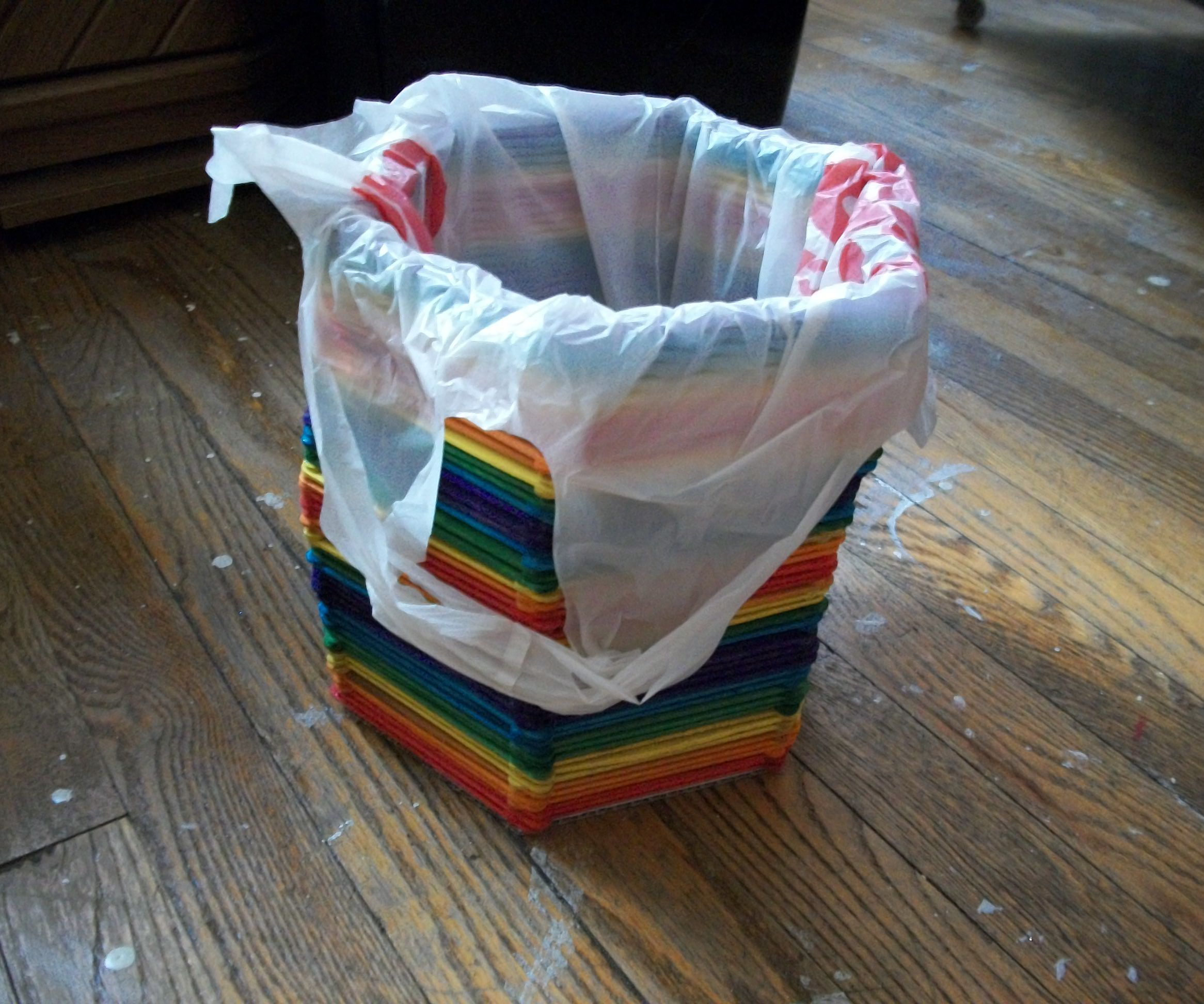 Rainbow Craft Stick Wastebasket
