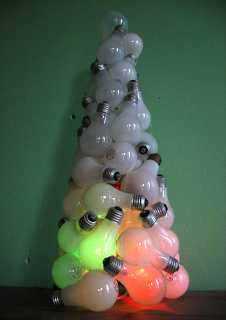 Recycled Light Bulb Xmas Tree.