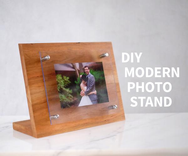 Modern Wood and Acrylic Photo Stand