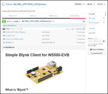 Download Simple Blynk Library for W5500-EVB