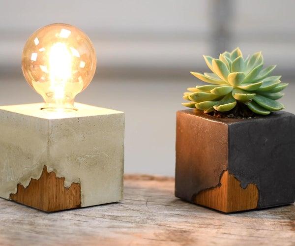 DIY Wood in Concrete DESK Lamp