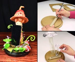 Mushroom Phone Holder Light Using Cardboard