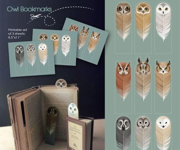 Owl - Bookmark Printable / Marca-páginas De Corujinhas