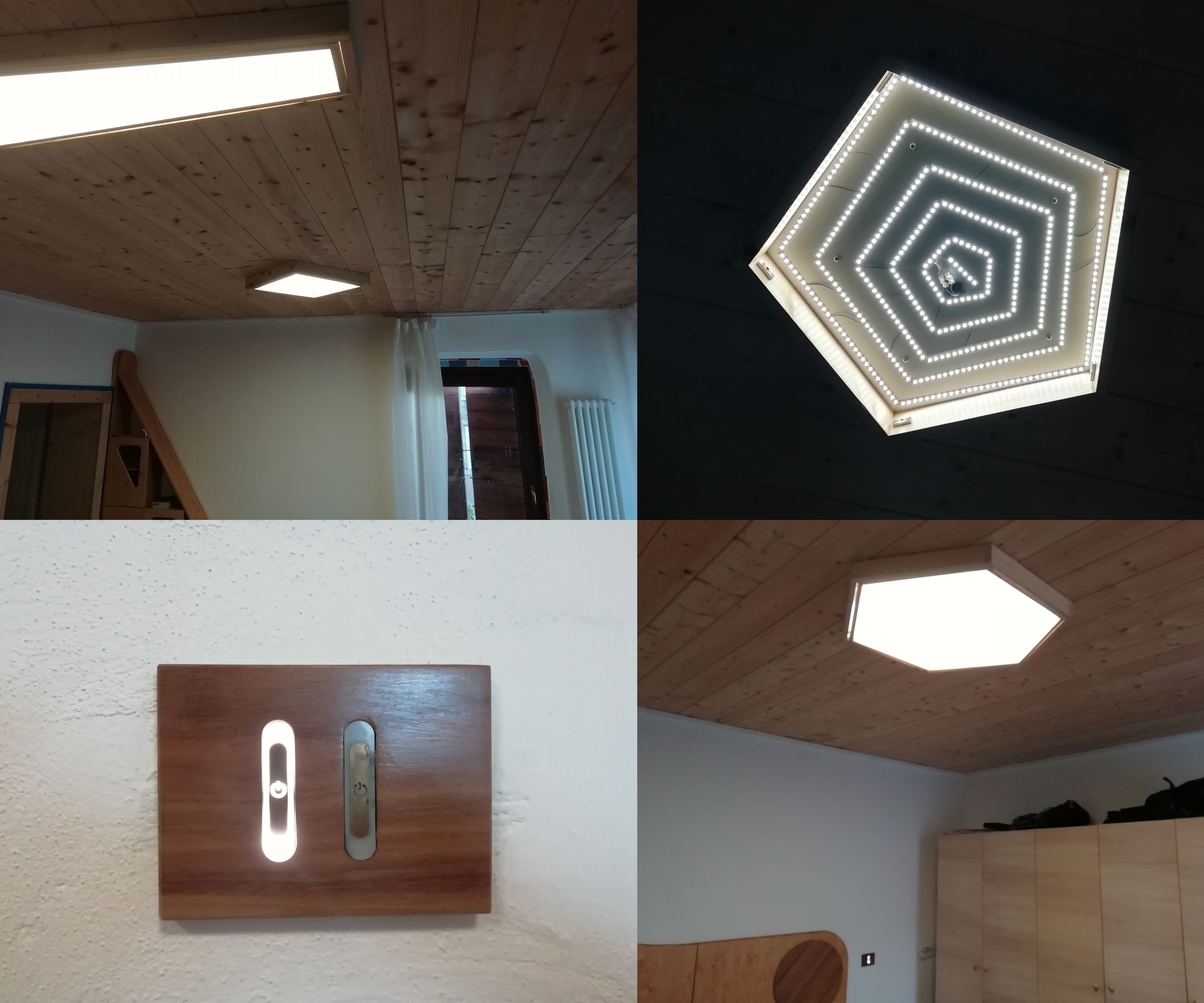 House Lighting System With Wooden LED Panels and Touch Buttons