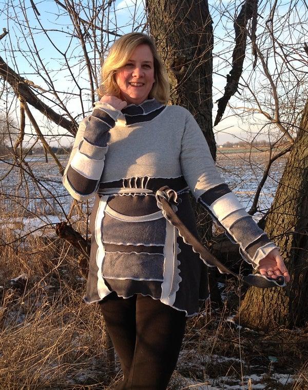 TWO SWEATSHIRT REMAKE - Perfect for Curvy Women in Leggings
