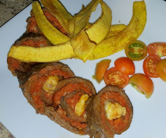 Delicious Skirt Steak Stuffed with Sausage and Gouda Cheese