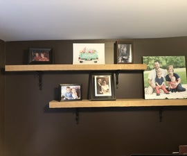 Wrought Iron and Hand Hewn Oak Shelves