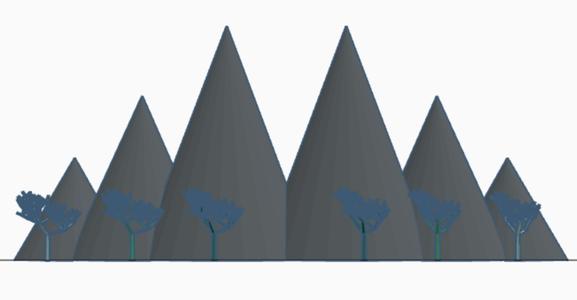 Mountain Range With a Few Trees