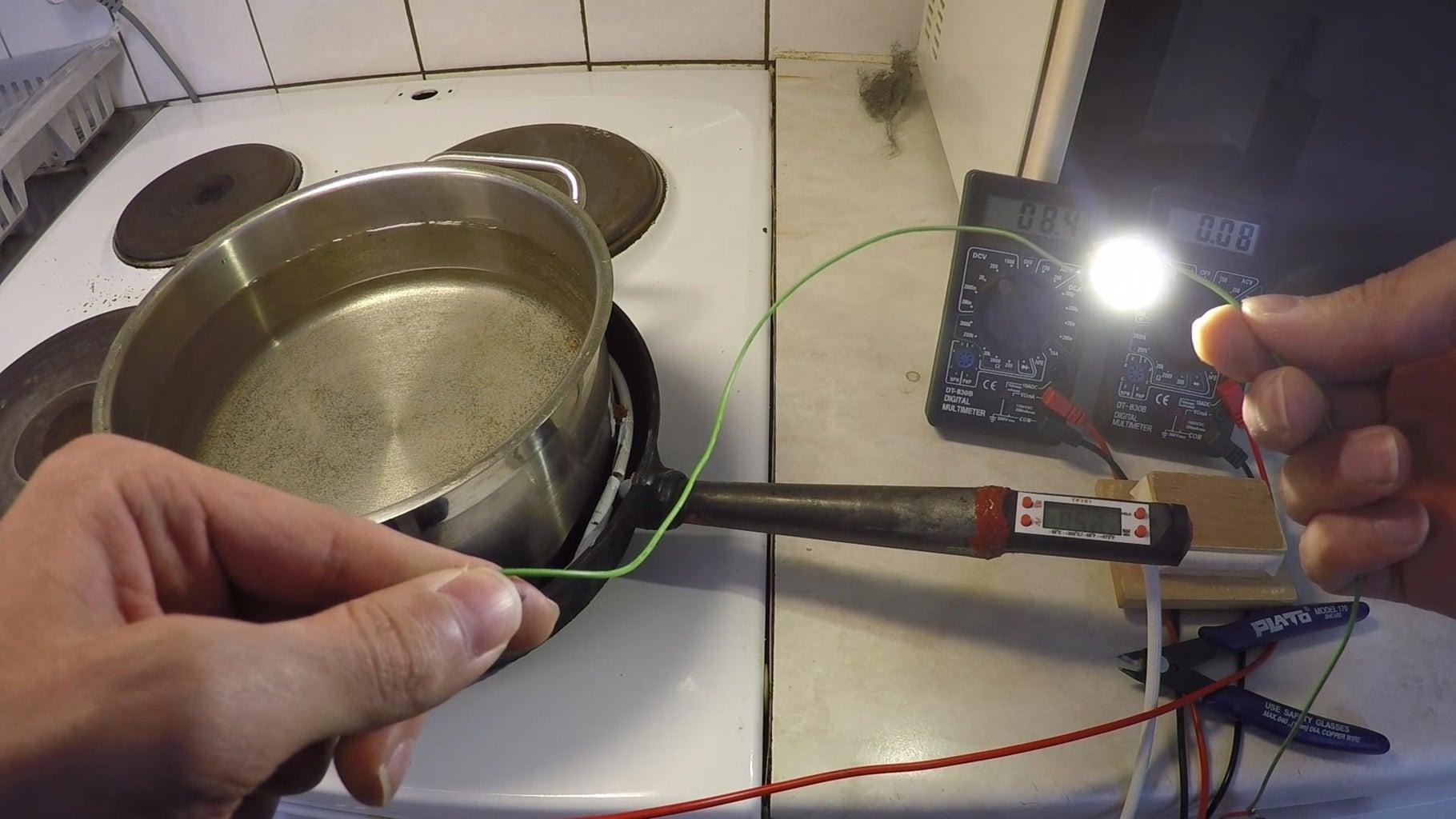 DIY Pot Generator, 9 TEG Modules Test With 10W LED Chip