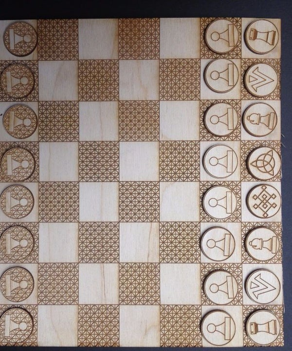 Laser Cut Chess Board & Pieces