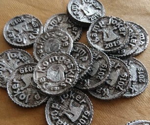 Pewter Coins Casted in Cotton Putty Sand