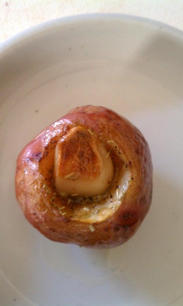 Roasted Garlic Stuffed Roasted Red Potatoes