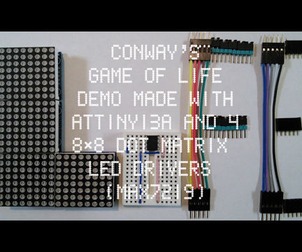 Conway's Life of Life of 16×16 Cells Made With ATtiny13A.
