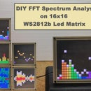 DIY Simple FFT Spectrum Analyzer,VU Meter and Waterfall Analyzer on 16x16 Led Matrix