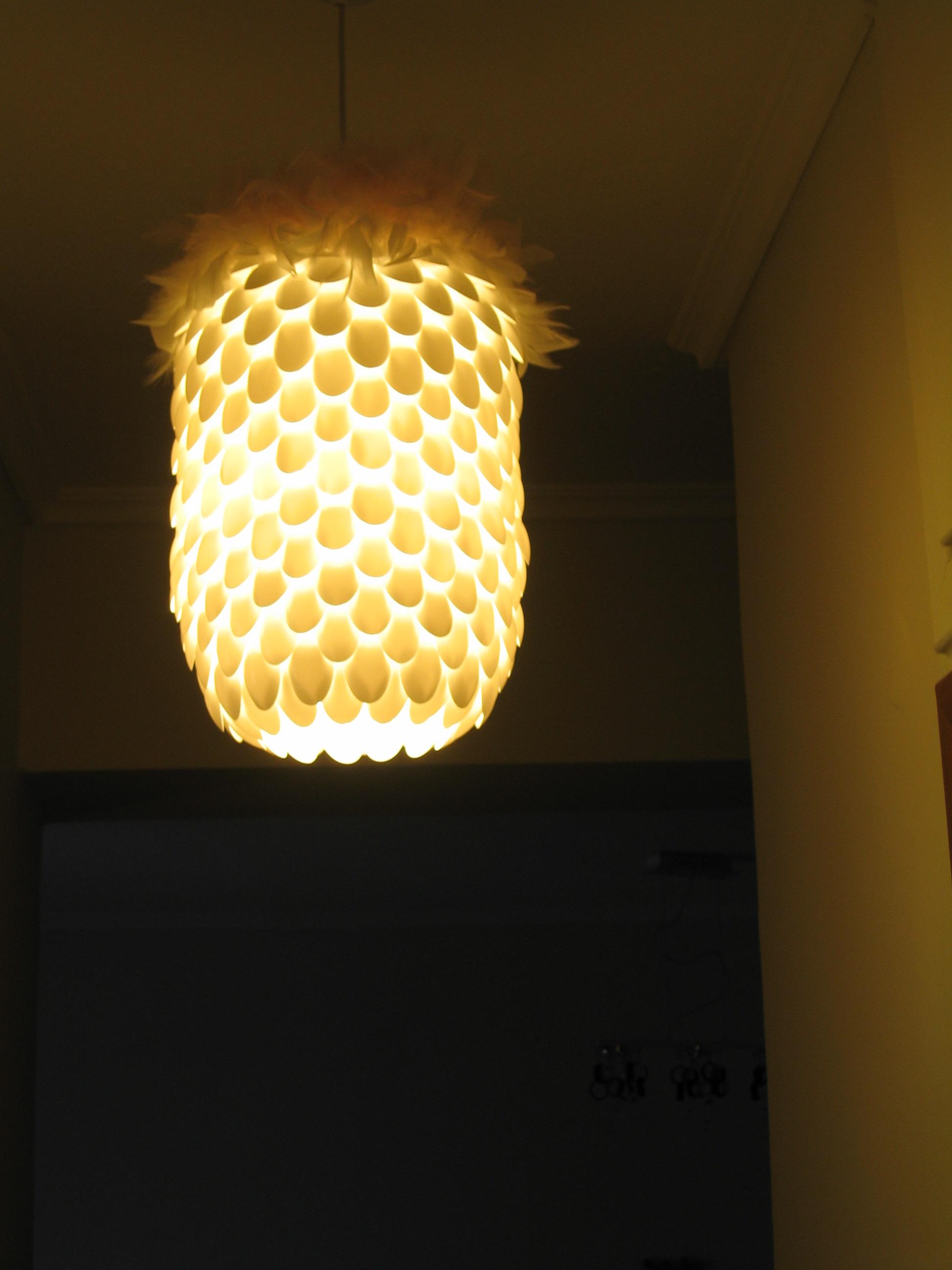 Plastic spoon pendant light