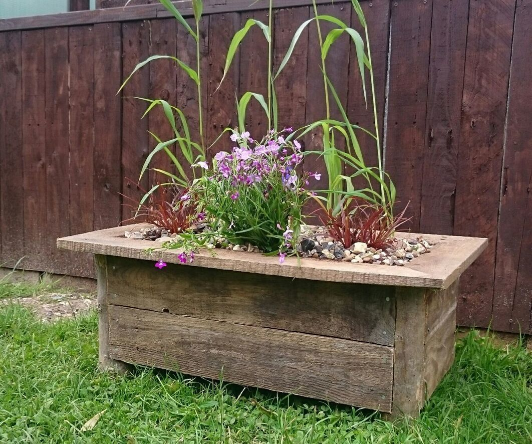 Rustic Log and Pallet Wood Planter