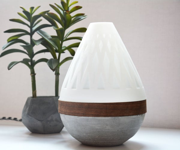 Teardrop Lamp (3D Printed + Concrete + Wood Veneer)