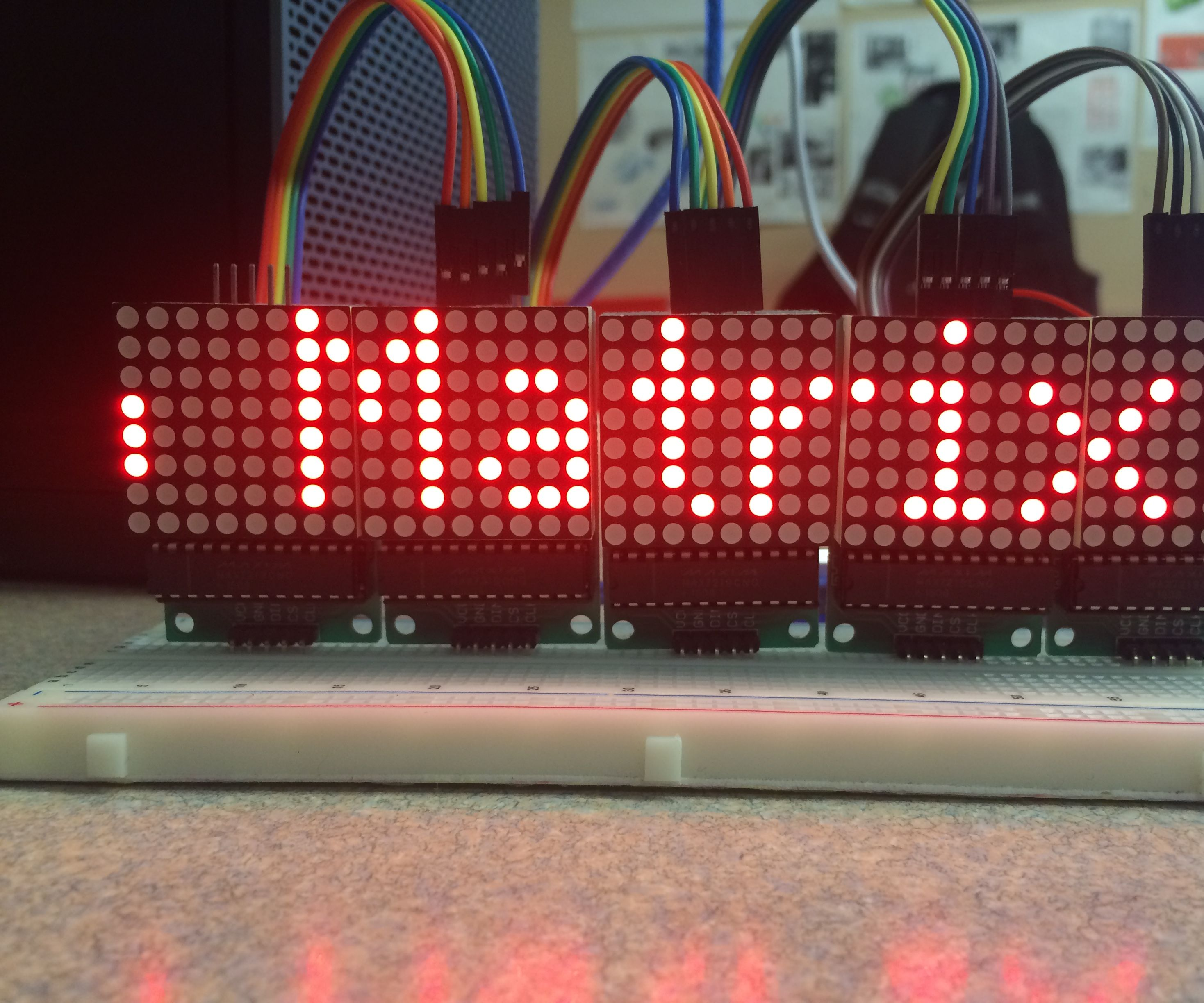 Scrolling text on a 8x8 LED matrix using an Arduino UNO