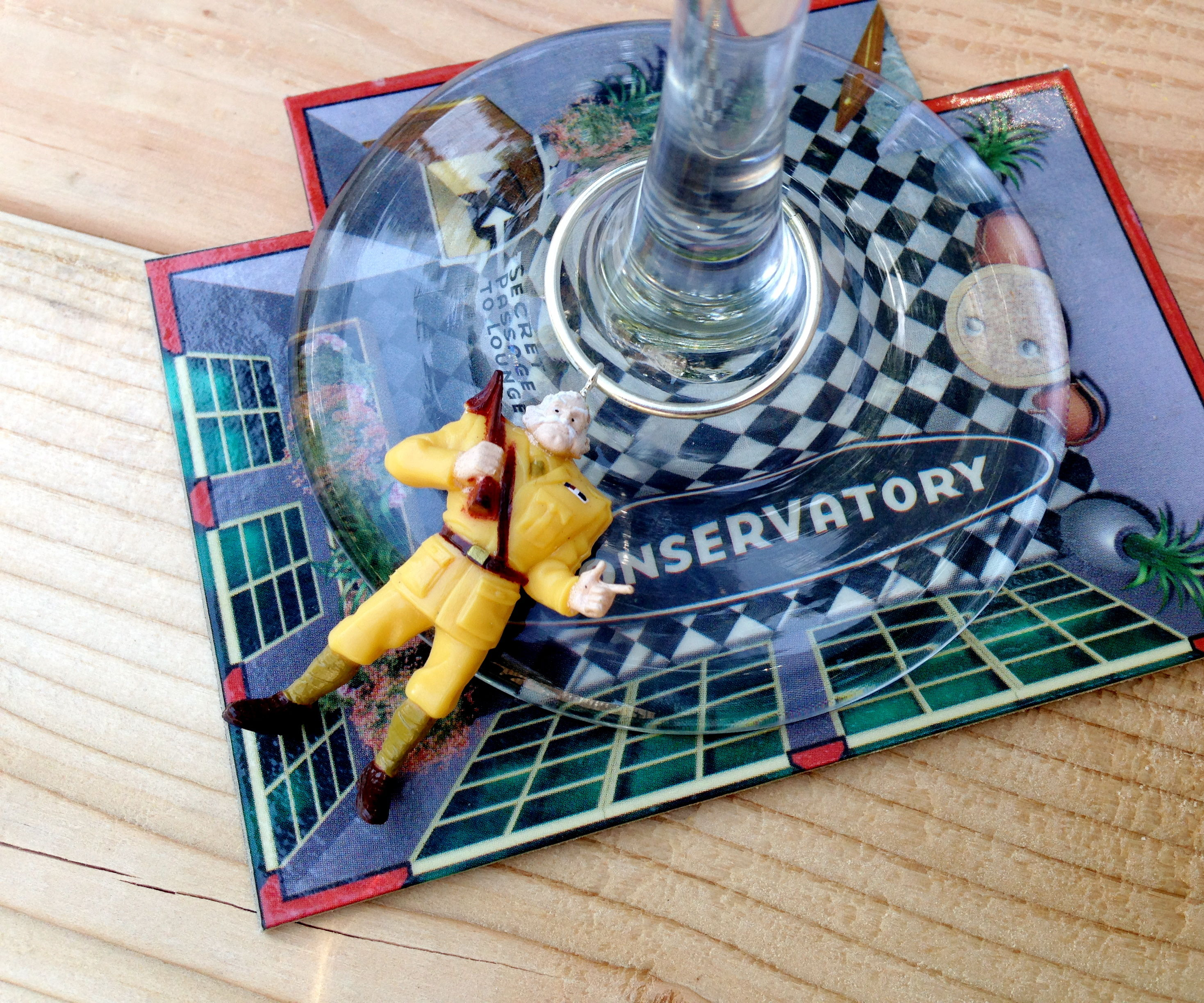 """""""Clue"""" Wine Charms and Coasters"""