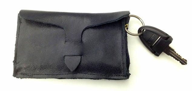Leather Business Card Case W/ Keyring & Outside Pckt