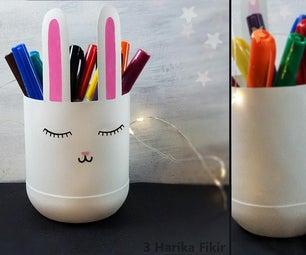 带塑料瓶的兔子铅笔夹
