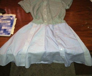 Shoddy Upcycle! Mens Dress Shirt Into Dress!