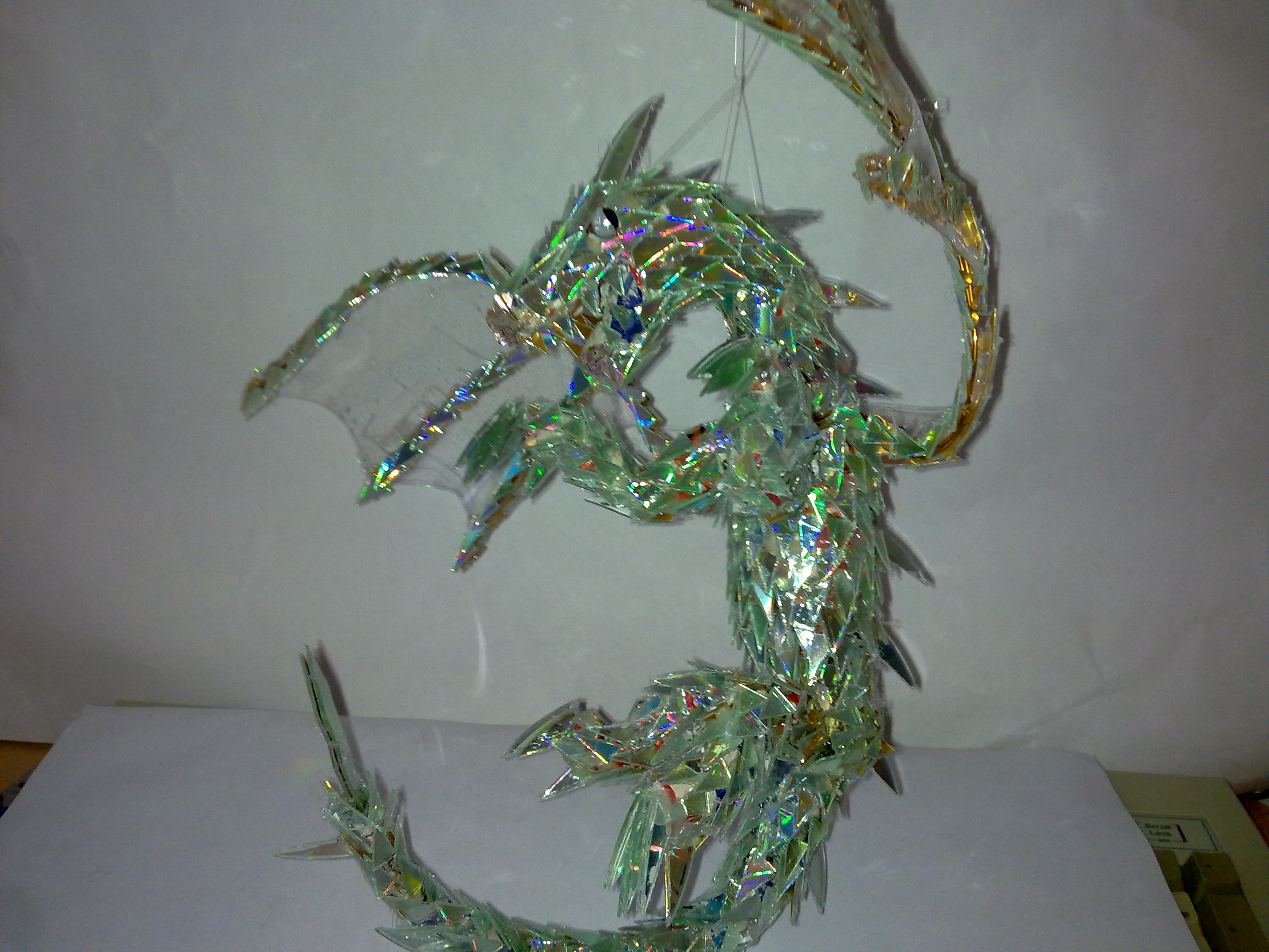 DIY CD Dragon Sculpture