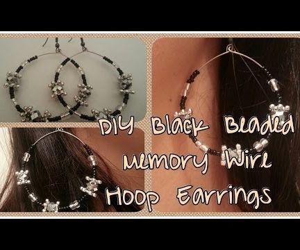 DIY Black Beaded Memory Wire Hoop Earrings