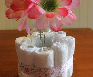DIY Baby Shower Diaper Cake Centerpieces