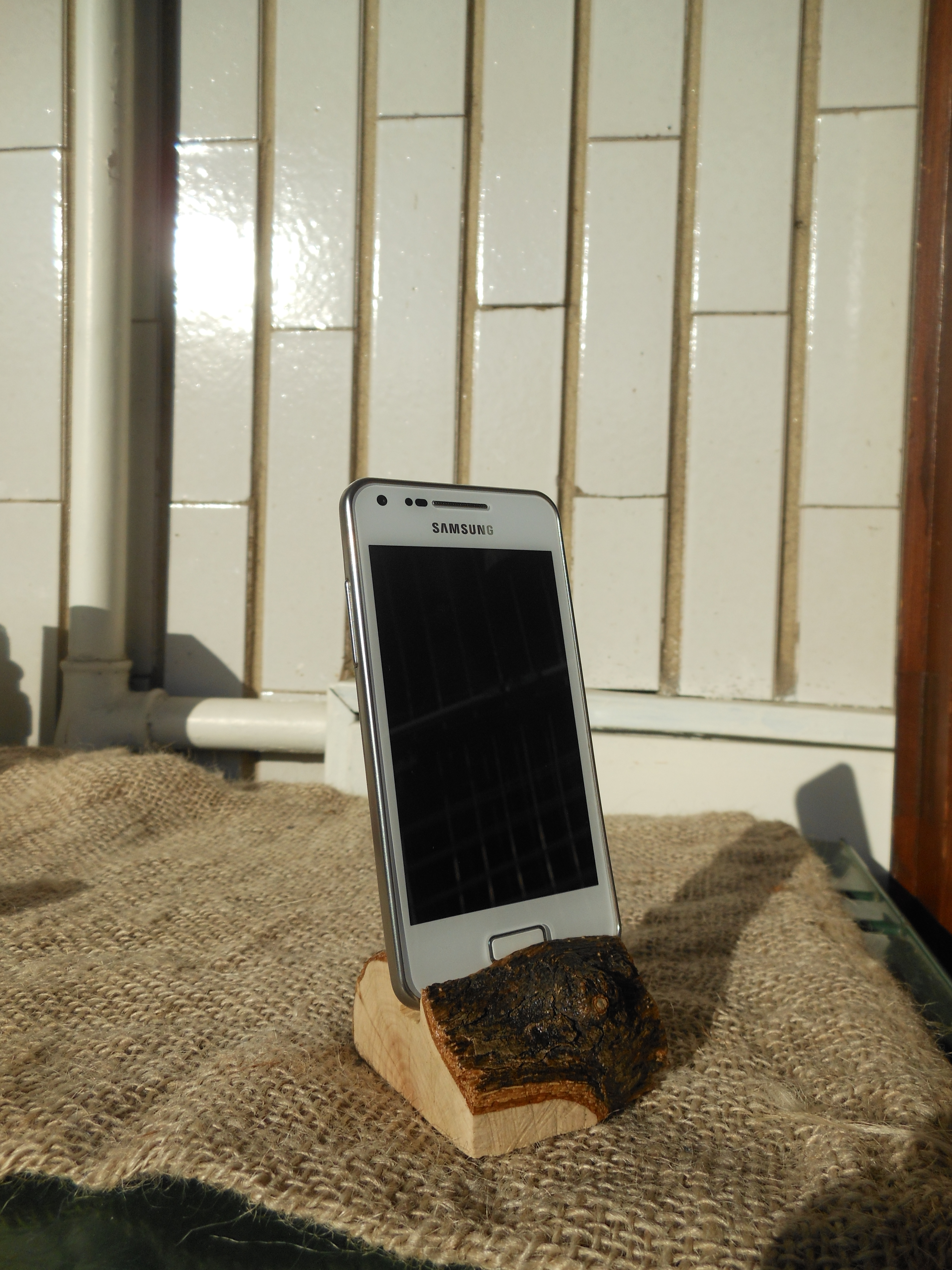 Phone stand from scrap wood.