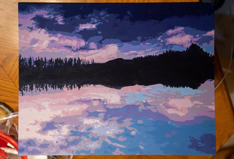 Painting a Reduced-Color Indigo/Violet Landscape