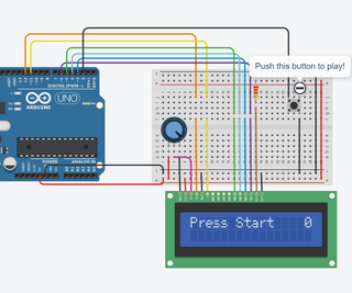 Arduino LCD Game on TinkerCad Circuits