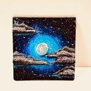 Moon on a Cloudy Night Crochet Painting