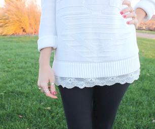 Lace Trim Sweater and Ribbon Back Dress